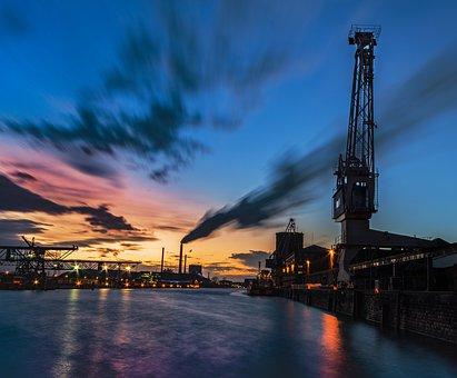 Waters, Sunset, Sky, Dusk, River, Industry