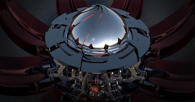 Sience Fiction, Vehicle, Machine, Spaceship, Reflection