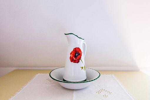 Still Life, Poppy, Red, Scale, Vase, Can, Jug, Table