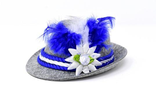 Hat, Carnival, Bavaria, Blue, White, Costume, Dress Up