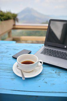 Coffee, Laptop, Computer, Table, Cup