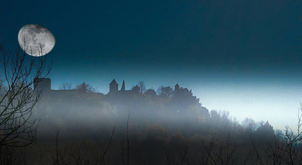 Panoramic, Nature, Landscape, Sky, Dawn, Moon, France