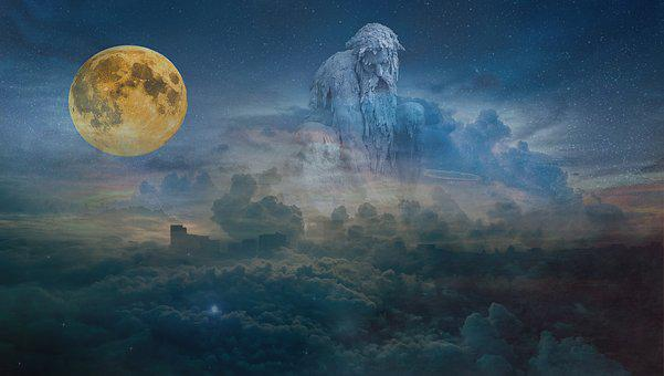 Sky, Nature, Outdoors, Sun, Landscape, Moon, God, Space
