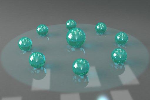 Marbles, Bright, Vivid, Illuminated, Balls 3d