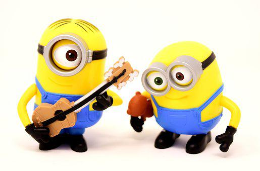 Minions Guitar, Music, Funny, Figures, Cute, Two