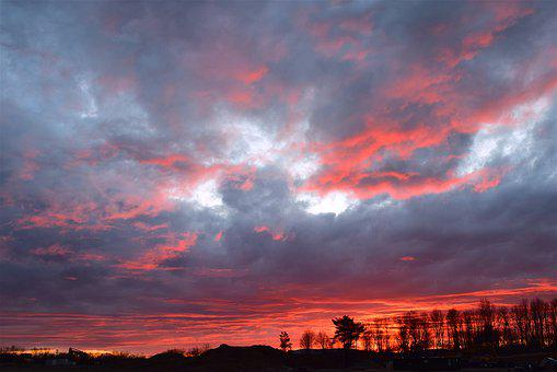Sunset, Landscape, Winter, Trees, Clouds, Sky, Colorful