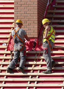 Man, Roofers, Craftsmen, Roof, Work, Security, Helm