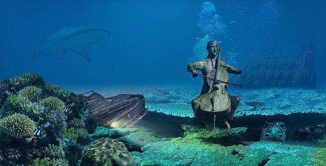 Fantasy, Underwater, Auto, Scrap, Turtle, Sculpture