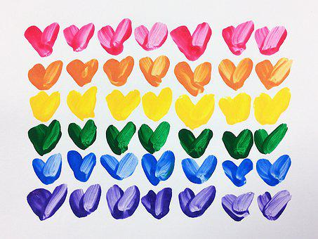Hearts, Rainbow, Love, Arts And Crafts, Valentine