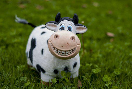 Cow, Toy, Lawn, Nice, Small