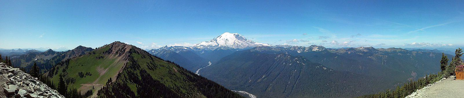 Panoramic, Panorama, Snow, Nature, Landscape, Rainier