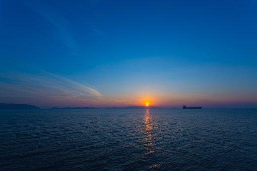 Nightfall, Sun, Waters, Xiao, Sea, Landscape, Restless