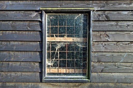 Window, Pane, Glass, Frame, Bars, Cobwebs, Wall, Wood