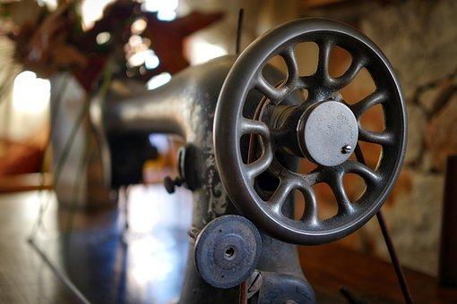 Wheel, Industry, Machine, Steel, Old, Sewing Machine