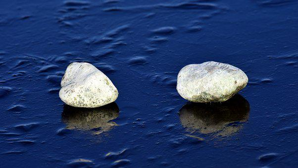 Stones, Ice, Winter, Frost, Mirroring, Background