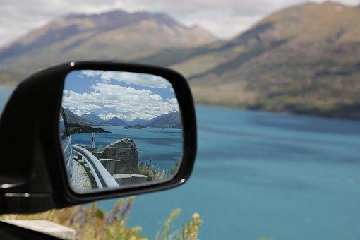 Travel, Exploring, Mirror, Auto, Road, Mountains
