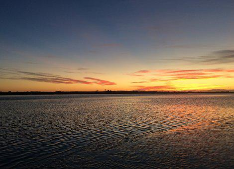 Kairaki Beach, Christchurch, New Zealand, Sunset, River