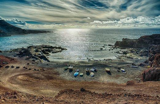 Nature, Landscape, Waters, Sea, Coast, Lanzarote, Spain