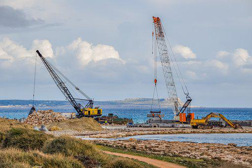 Cranes, Construction, Working, Machine, Marina