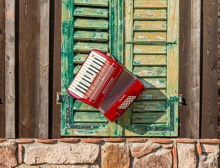 Wood, Woods, Old, Accordion, Mood, Music