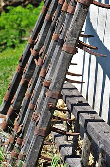 Harrow, Old, Wood, Rusty, Mountain Farm