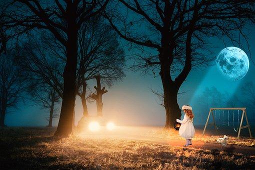 Dawn, Trees, Road, Car, Night, Full Moon, Girl, Lost
