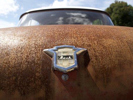 Outdoors, Car, Vehicle, Antique, Nash, Rust, Trunk