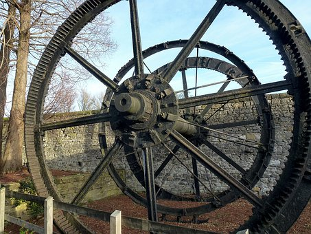Water Wheel, Old, Rust, Abandoned