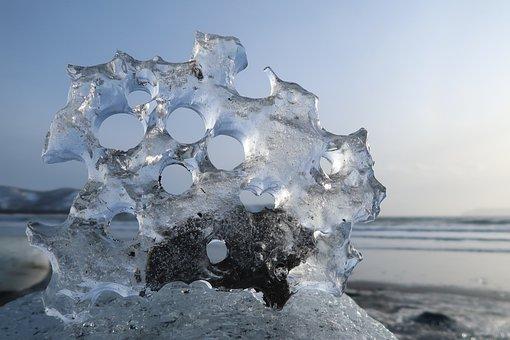 Icicle, Sun, Bay, Wave, Sea, Seascape, Ocean, Coast