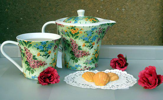 Cup, Tea, Table, Flower, Madeleine, Spring, Red, Pastry