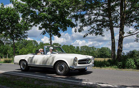 Auto, Tree, Road, Transport System, Oldtimer, Vehicle
