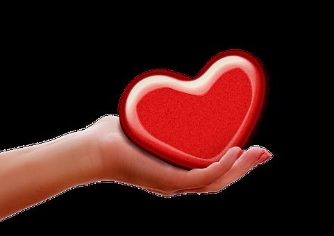 Hand, Heart, Give, Reach, Keep, Indulge, Red