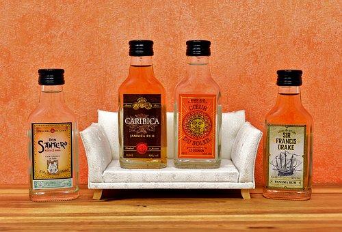 Men's Round, Sofa, Rum, Alcohol, Bottles