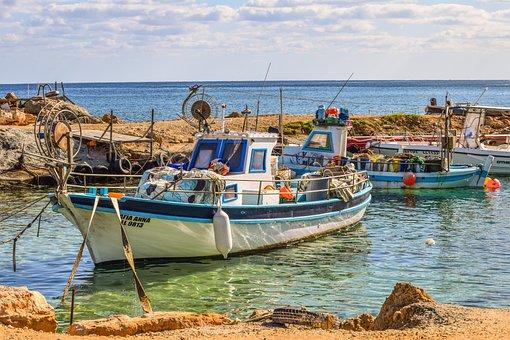 Cyprus, Protaras, Fishing Shelter, Boats, Harbor, Sky