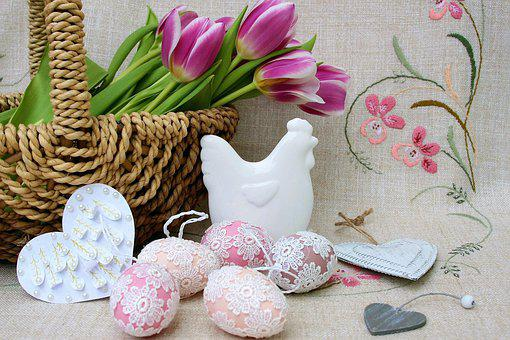 Shopping Cart, Wicker, Tulips, Easter, Decoration
