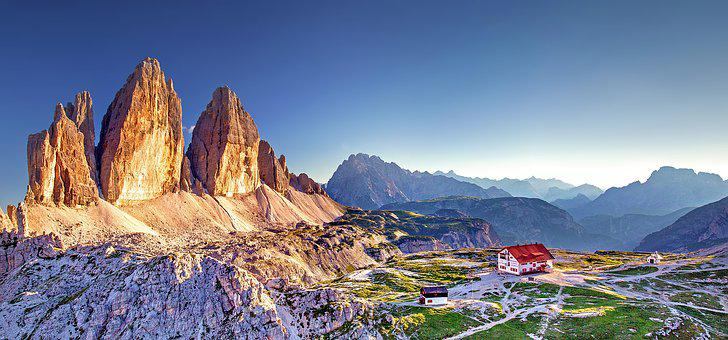 South Tyrol, Three Zinnen, Dolomites, Afterglow, Italy