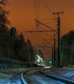 Rails, Station, Landscape, Night, Snow, Sky, Pillars