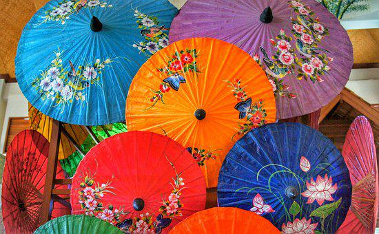 Paper, Umbrella, Oriental, Handmade, Hand Painted