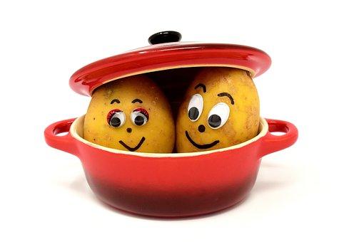 Potatoes, Cooking Pot, Cute, Kitchen, Pot, Vegetables