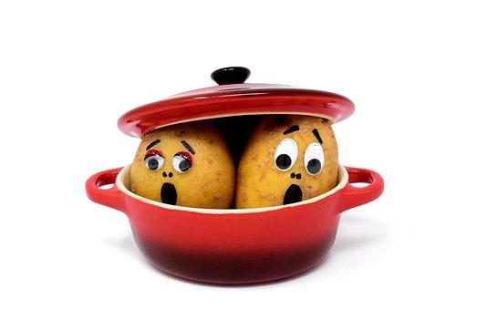 Fear, Horror, Potatoes, Cooking Pot, Cute, Kitchen, Pot