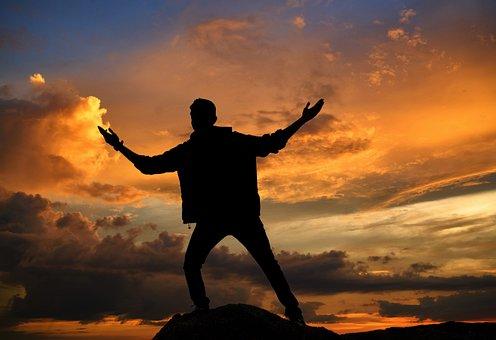 Sunset, Sun, Dawn, Sky, Silhouette, People, Pose