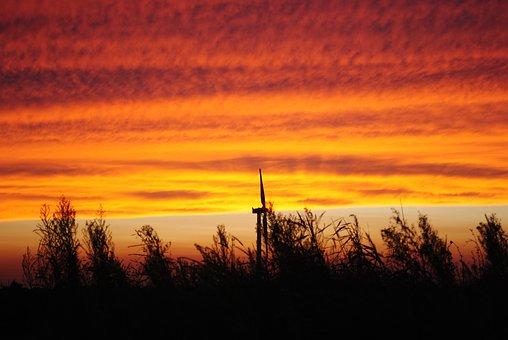 Sunset, Dawn, Silhouette, Twilight, A Bird's Eye View