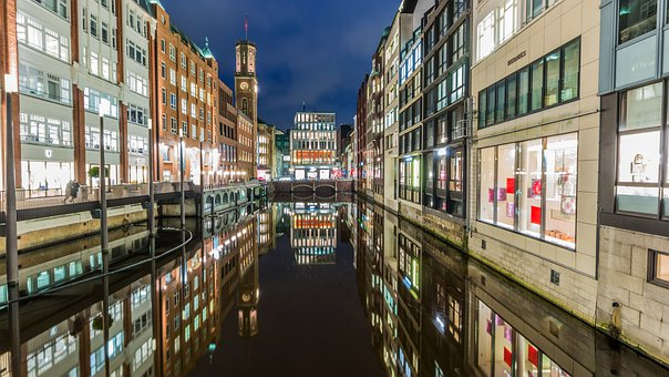 Architecture, City, Road, Travel, Hamburg, Lights