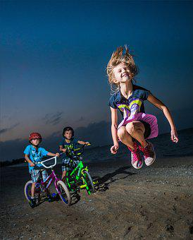 Fun, Child, Lifestyle, Active, Wheel, Beach, Blue