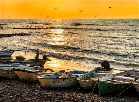 Water, Sea, Boat, Sunset, Seashore, Dawn, Sun, Beach