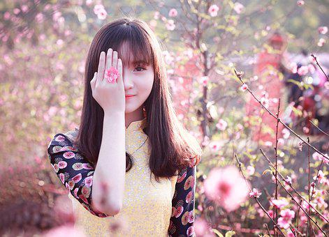 Nature, Beautiful, Girl, Outdoors, Flower, Portrait