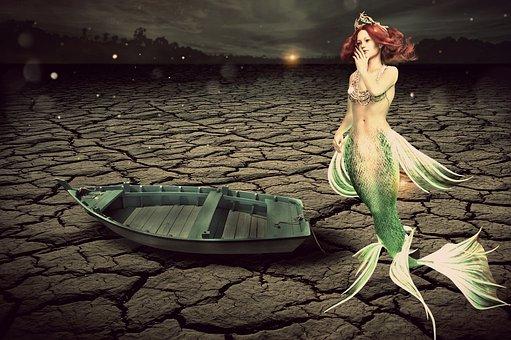 Fantasy, Mermaid, Desert, Dark, Night, Boat, Leave