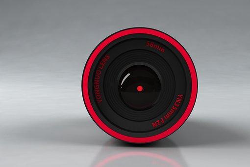 Lens, Red Color, Round, Camera