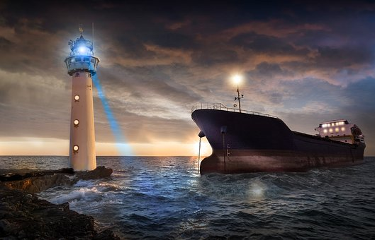 Sea, Ocean, Boat, Lighthouse, Light, Sunset, Roche