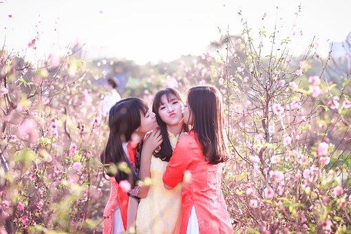 Nature, Flower, Outdoors, Girl, Summer, Dress, Woman